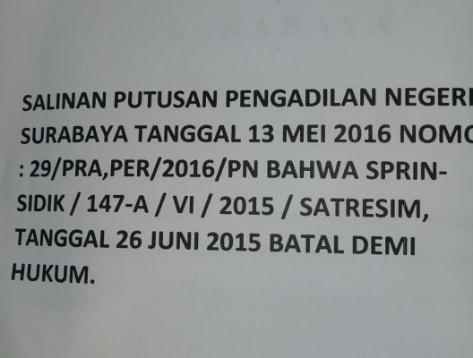 Purwanto Protes, Datangi Ketua Pengadilan Negeri Surabaya