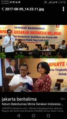 Ketum Bakohumas Minta Gerakan Indonesia Melayani Ditingkatkan