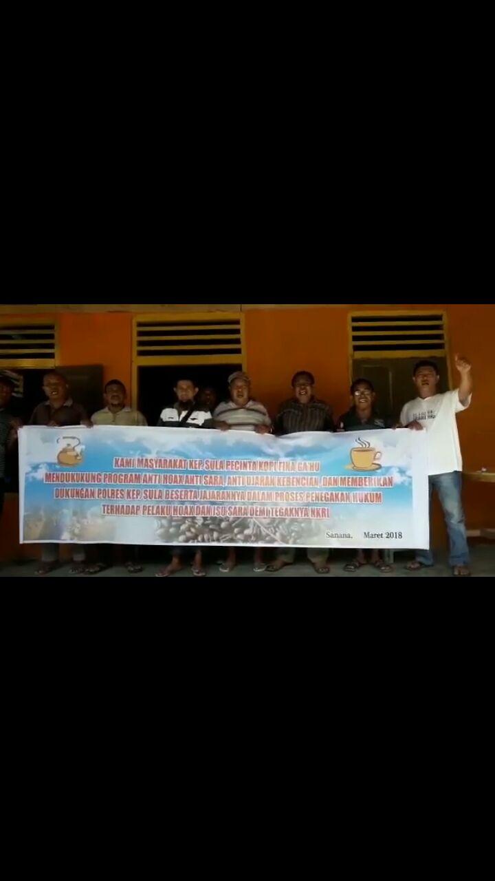 Masyarakat Sula, Pencinta Kopi Fina Ga,Hu Mendukung Progaram Anti-Hoax