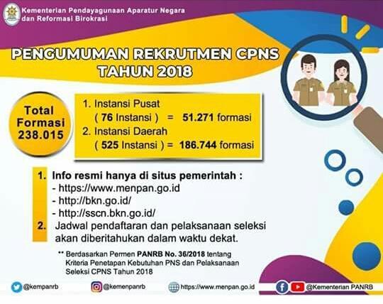 Pemerintah Buka 238 Ribu Formasi CPNS
