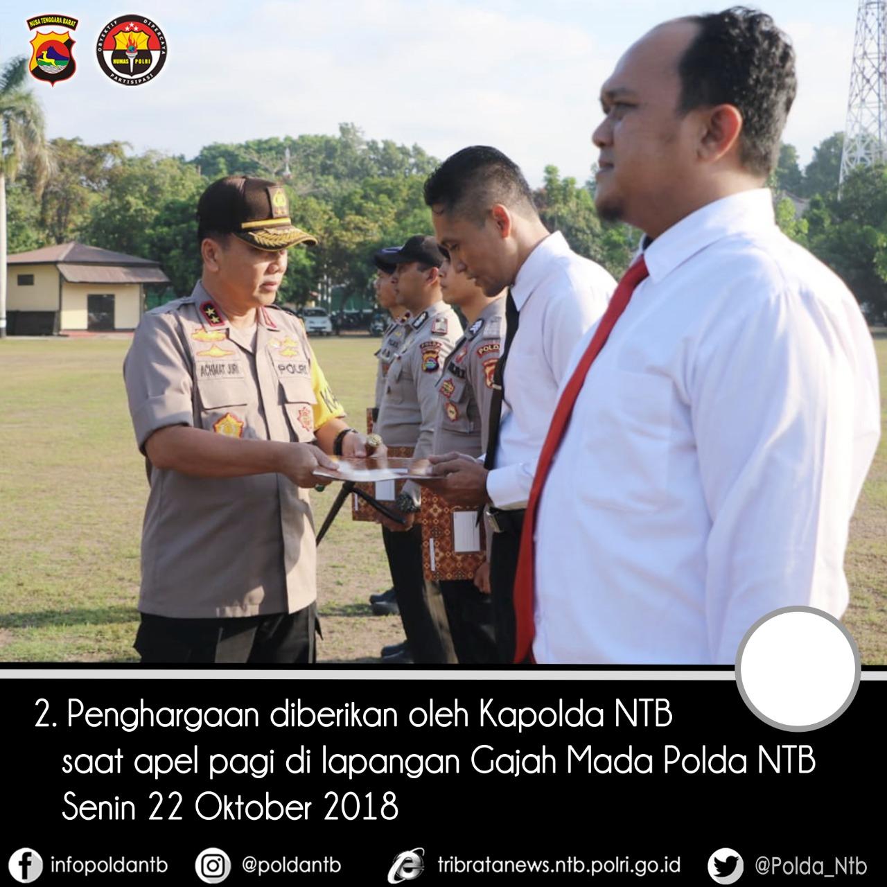 Kapolda NTB Berikan Penghargaan Anggota Yang Berhasil Evakuasi Korban Gempa Lombo 2018