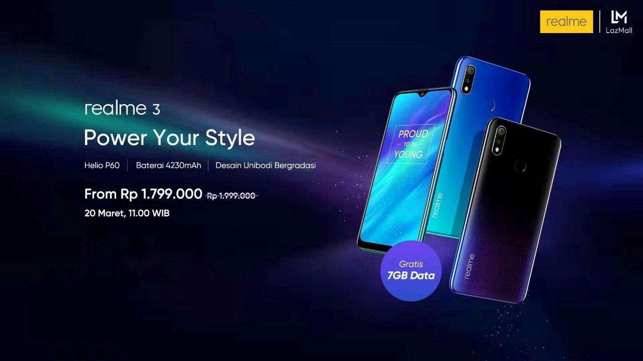 """Realme 3 """"Power Your Style"""", Smartphone Terbaik Akan Melakukan Penjualan Online Perdananya Melalui Lazada"""