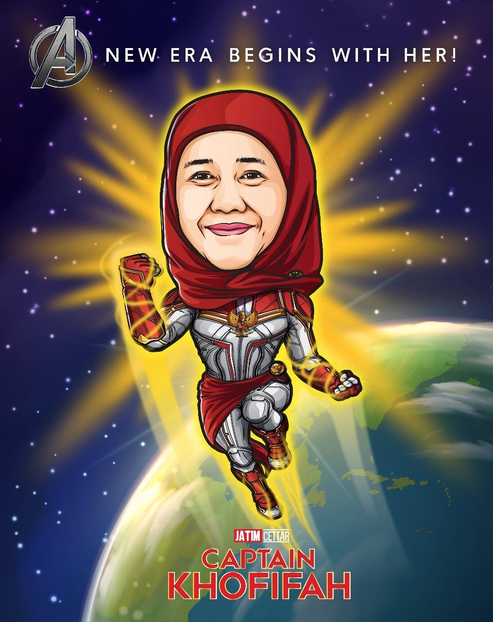 Demam Avangers : Endgame, Khofifah Tampil Bak Captain Marvel