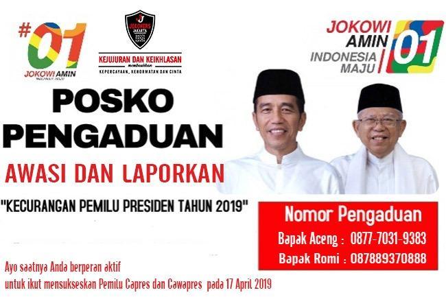 Peduli Pilpres Jurdil Jokowers Jakarta Buka Posko Pengaduan Pilpres 2019