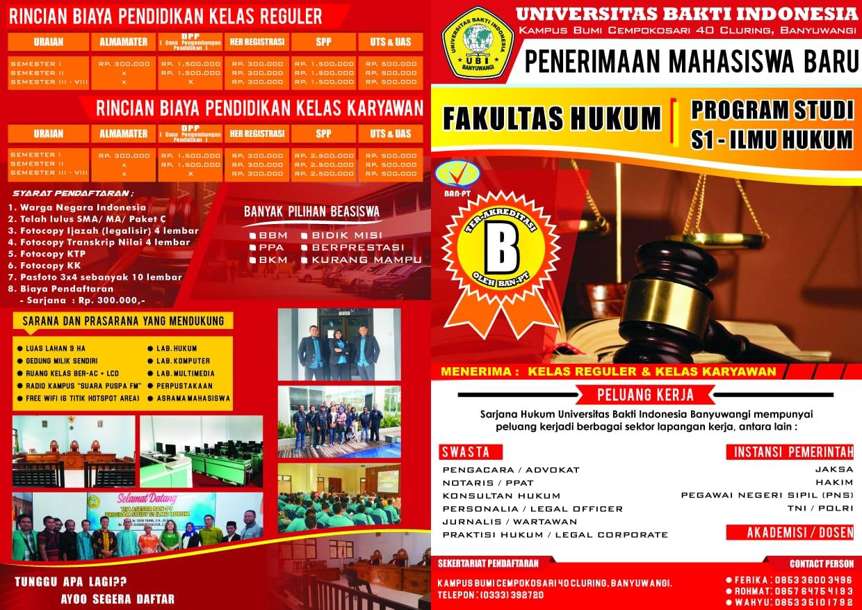 Dibuka Pendaftaran Kuliah Fakultas Hukum UBI, Yang Sudah Terakreditasi B