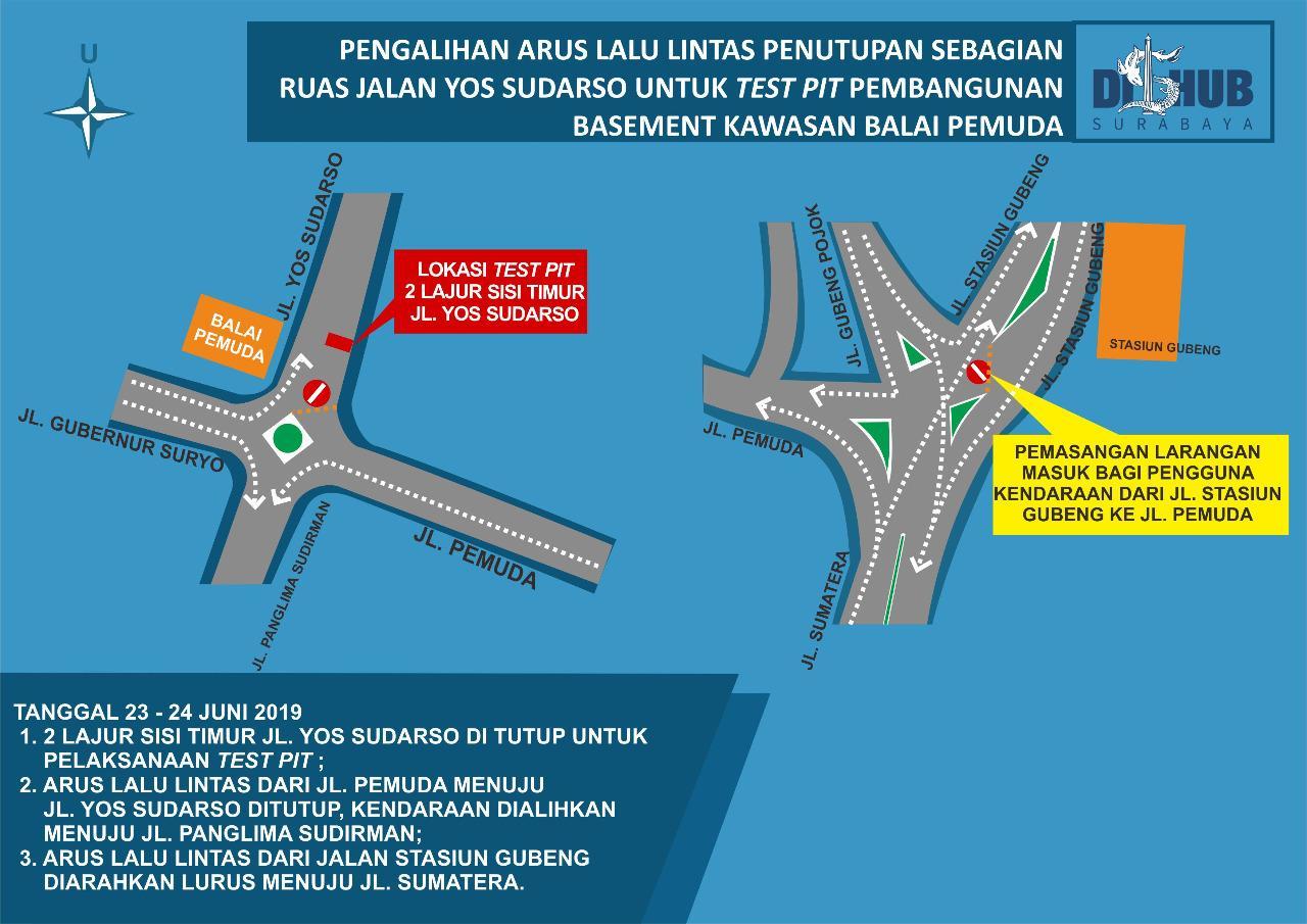Dishub Surabaya Siapkan Rekayasa Lalu Lintas Penutupan Separuh Jalan Yos Sudarso