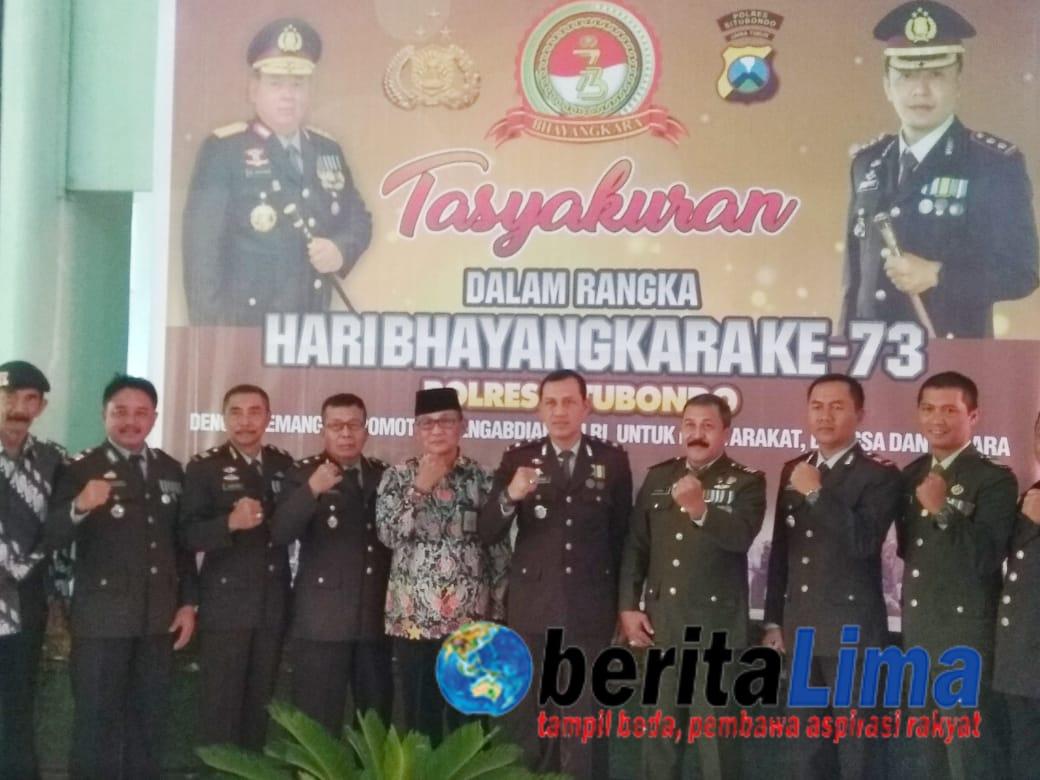 Perkokoh Sinergisitas Polres Situbondo Gelar Tasyakuran HUT Bhayangkara ke-73 di Kodim 0823