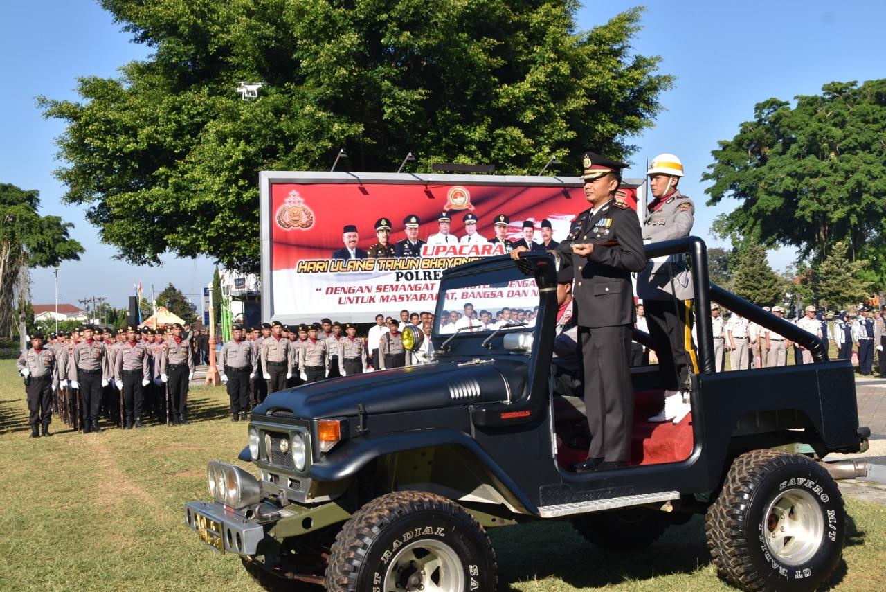 Upacara Puncak Acara HUT Bhayangkara Ke-73 Polres Wonosobo