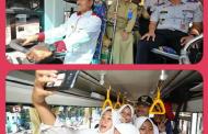 Walikota Madiun Coba Naik Bus Sekolah Bersama Peserta Didik