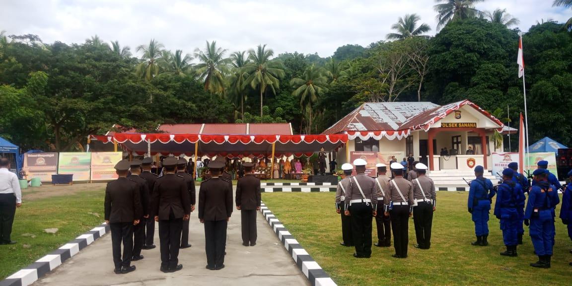 Upacara peringatan HUT Bhayangkara ke-73 Dipusatkan di Polsek Sulabesi Tengah