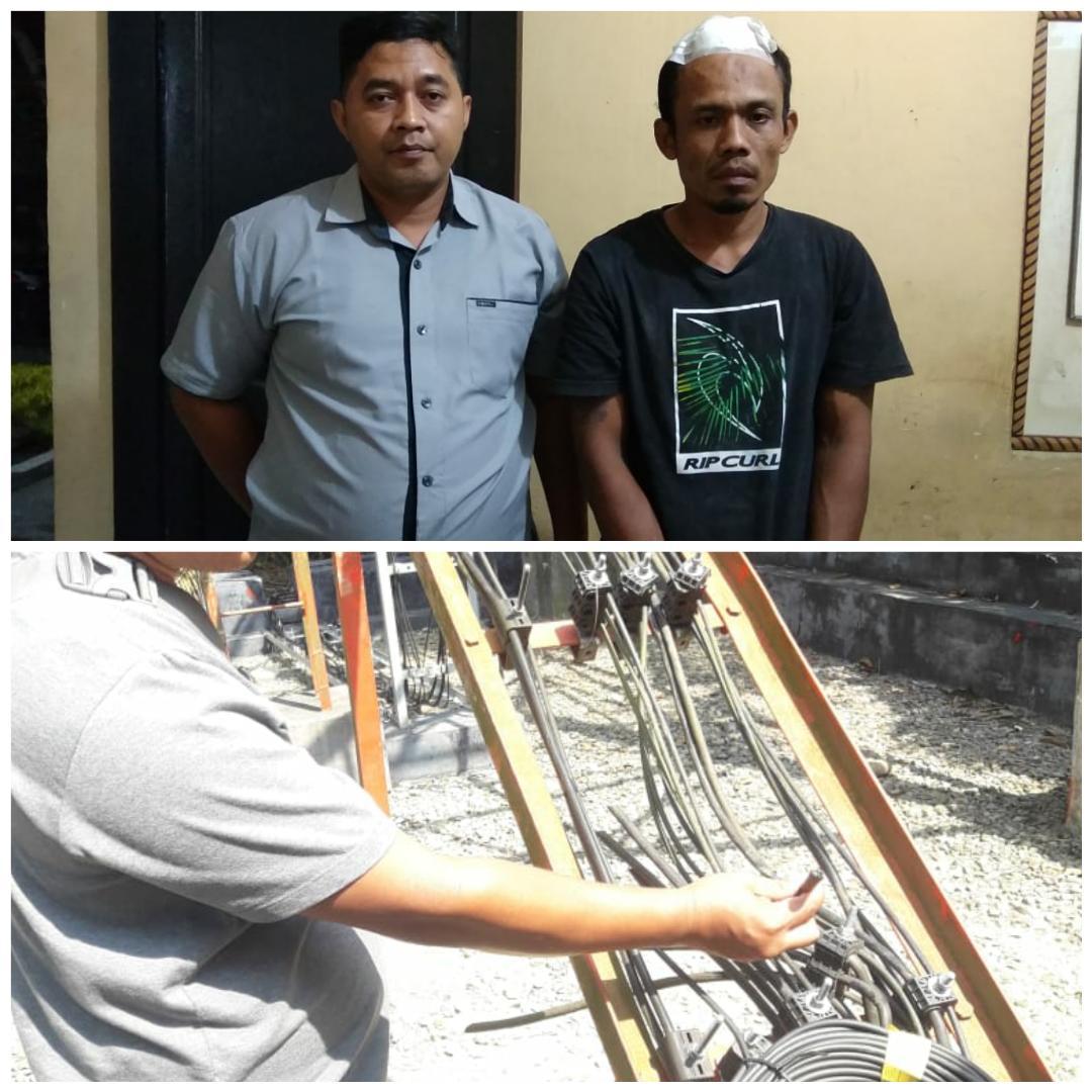 Curi Kabel Tower Ketahuan Warga, Pelaku Digelandang ke Polisi