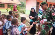 Satgas Pamtas Yonif 411/Pdw Bersama Puskesmas Sota Sosialisasikan Pola Hidup Sehat di Sekolah