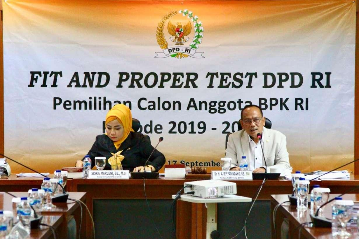 Komite IV DPD RI Segera Putuskan Hasil Fit and Proper Test Calon Anggota BPK RI