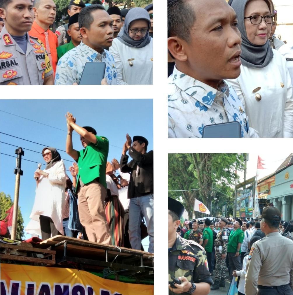 Demo Damai Mendukung Kapolres Tuntaskan Kasus Bisnis Q-Net Di Lumajang