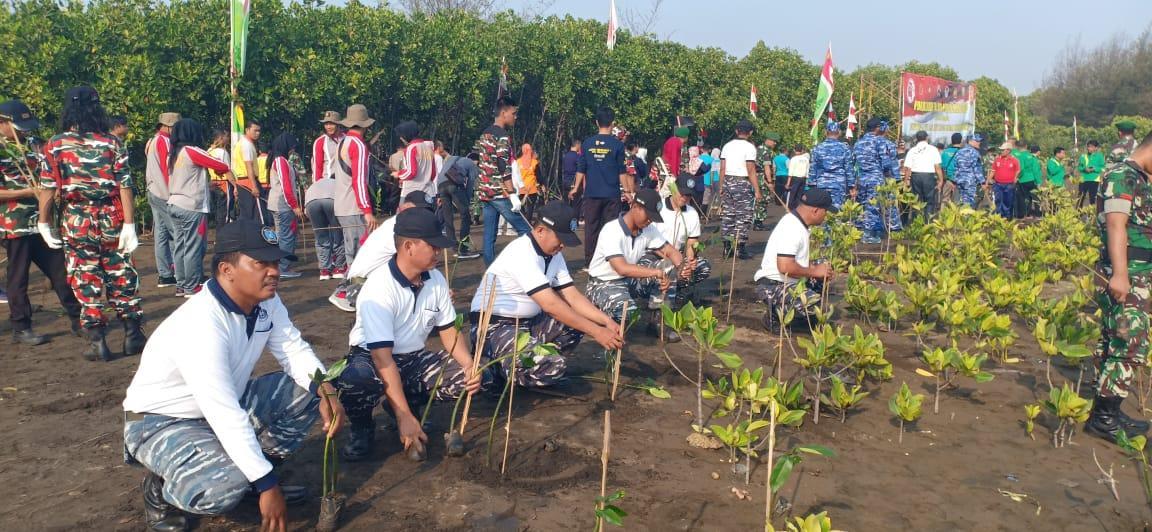 Komandan Lanal Tegal Hadiri Penanaman 50.000 Pohon Mangrove Di Pantai Panjang Baru