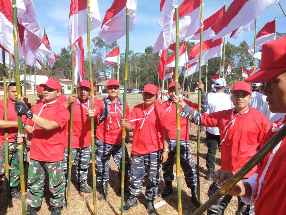 Lanal Banyuwangi Ikuti Parade Merah Putih Dukung Pelantikan Presiden