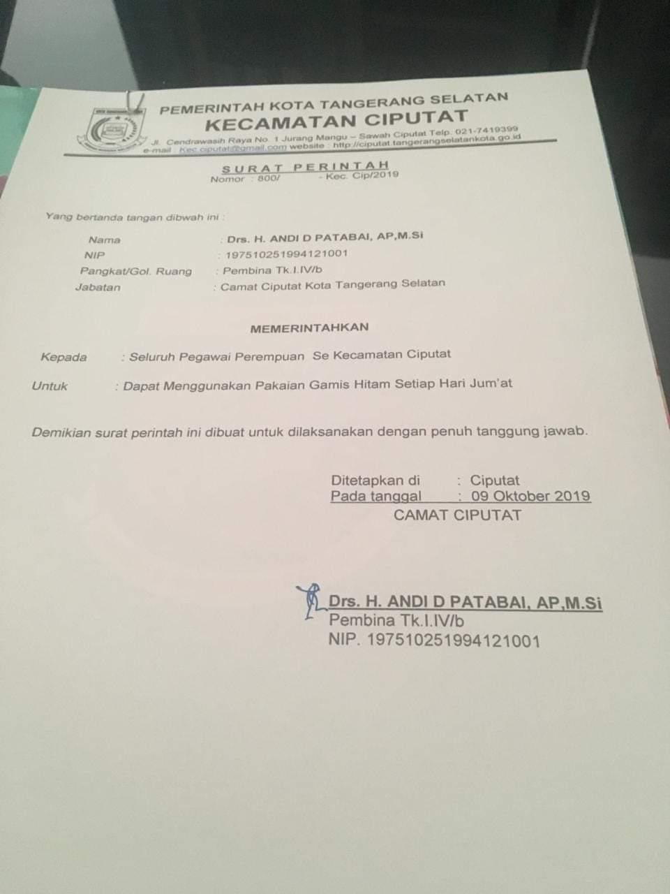 Perintah Sesat Camat Ciputat