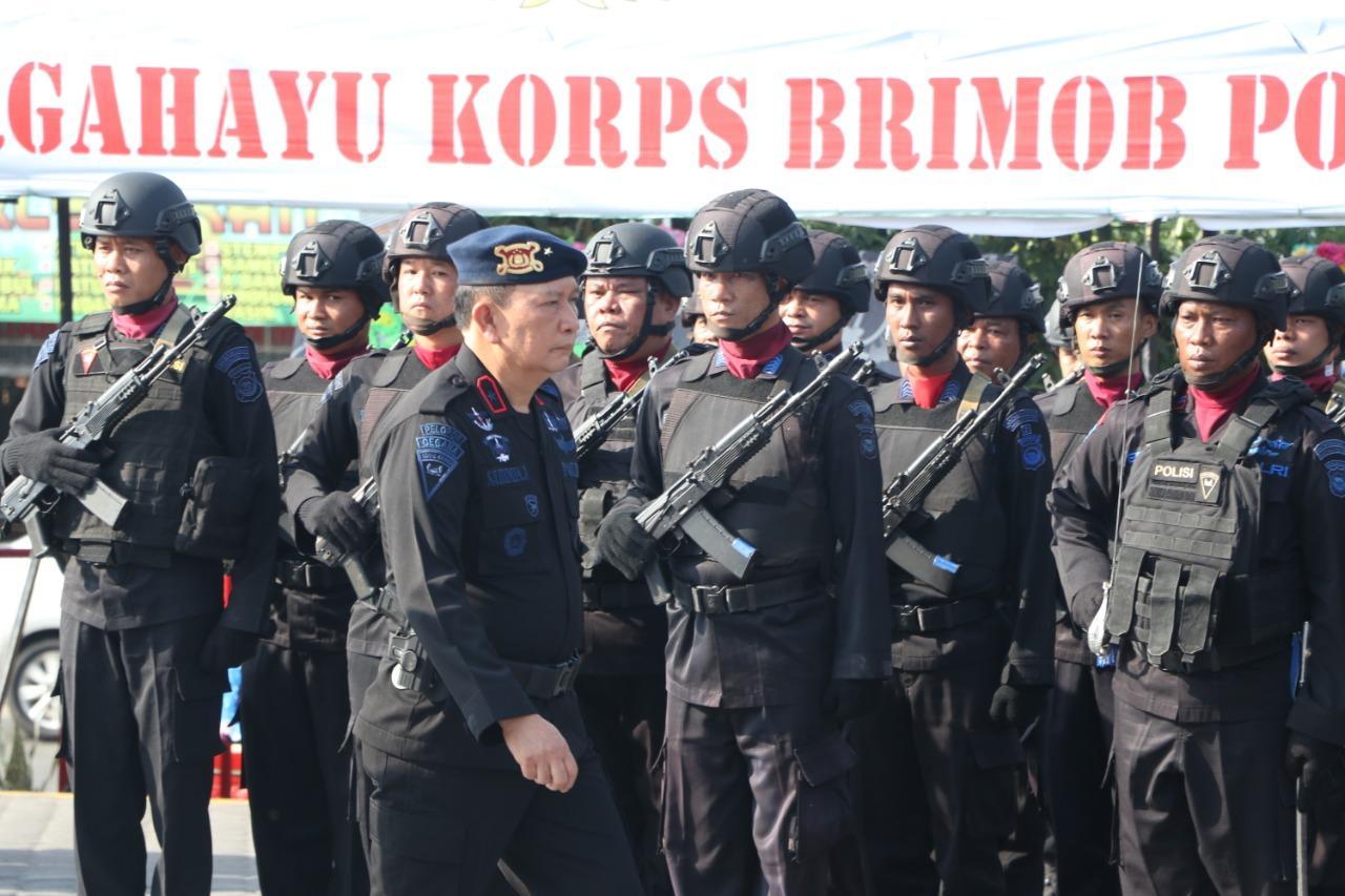 Wakapolda Bengkulu Pimpinan Upacara Peringatan HUT Brimob Ke-74 Tahun