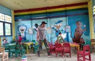 Wujud Kepedulian Pada Pendidikan, Satgas Yonif Raider 509 Kostrad Rehab Paud/TK di Perbatasan