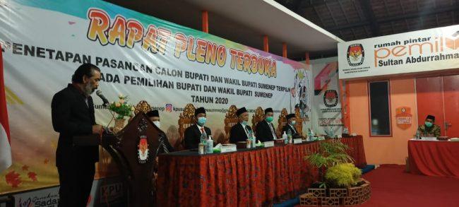 rapat pleno terbuka penetapan pasangan calon terpilih pemilihan bupati dan wakil bupati Sumenep tahun 2020